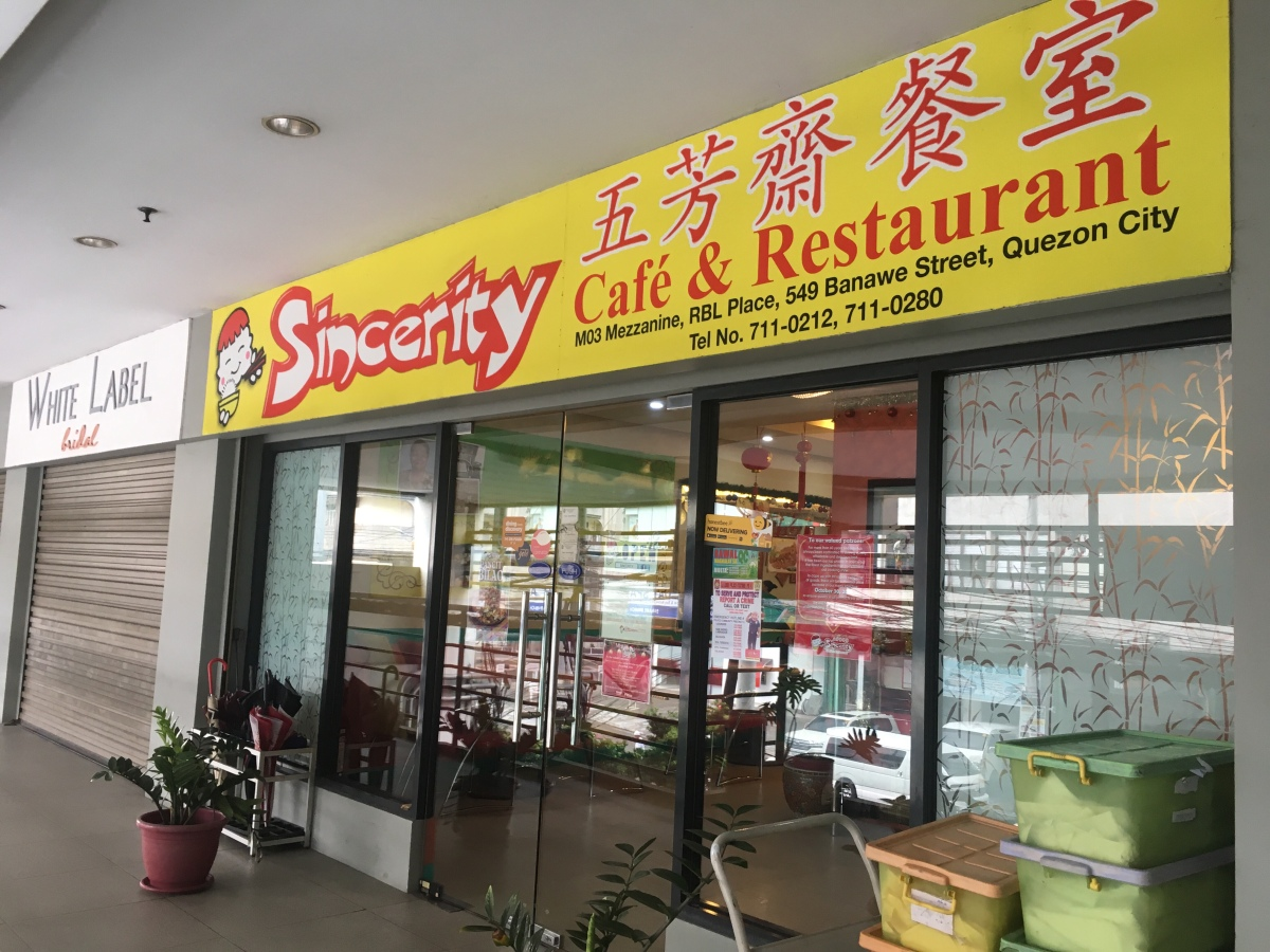 Bro-recommended Sincerity Cafe & Restaurant, Banawe