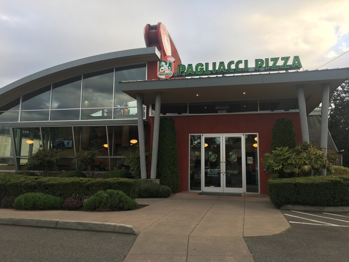 Pizza takeaway at Pagliacci Pizza, Lake Forest Park, WA