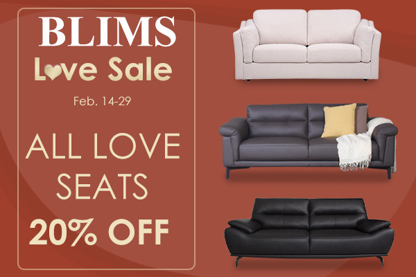 Get 20% off on all love seats at BLIMS Love Sale from Feb14-29